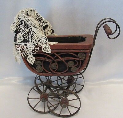 Victorian Baby Doll Carriage Buggy Ornate Wicker Metal Scroll Lace Canvas Canopy