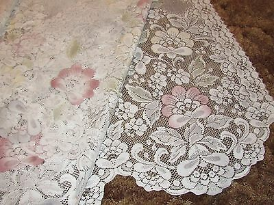 "2 Vintage Ivory Lace Curtains Panel 58 X 82"" Tinted Color Florals Scalloped Hem"