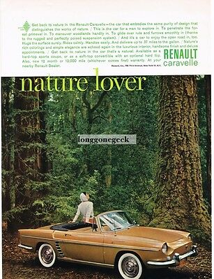 1961 RENAULT Caravelle Brown Convertible in Ancient Forest Vtg Print Ad
