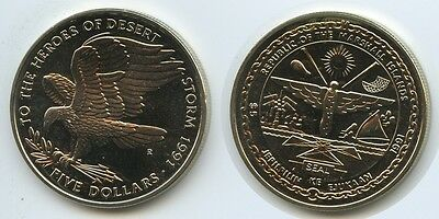 GS220 - Marshall Islands 5 Dollars 1991 R KM#40 To the Heroes of Dessert Storm