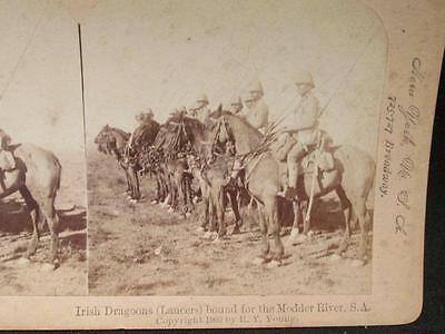 Irish Lancers Bound for the Modder River South Africa Boer War Stereoview 1900