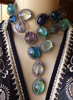 Vintage Artisan Necklace Huge Faceted Fluorite Beads Hand Wire Wrapped Silk Ribn