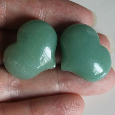 k26421  25mm Two green aventurine heart piece