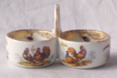 C19Th Meissen Hand Painted Double Table Salt With Pictures Of Birds