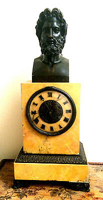 Beautiful Sienna Marble Mantel clock with bronze