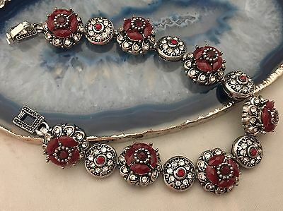 STUNNING Vintage French Napoleonic Style Jewelled Silver Tone Bracelet LOOK-L440