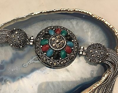 STUNNING Vintage French Napoleonic Style Jewelled Silver Tone Bracelet LOOK-L441