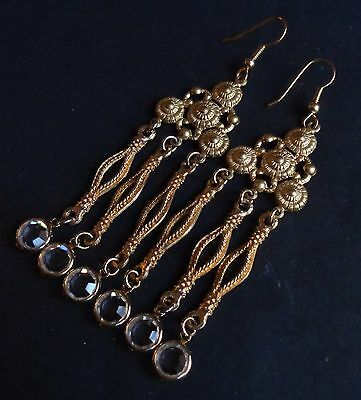 Vintage Earrings Long Bohemian Chandeliers W/ Bezel Set Crystal Drops