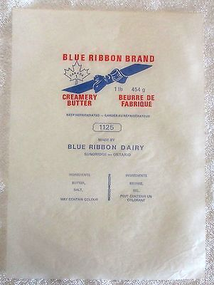 Blue Ribbon Brand Creamery Butter Wrapper Sundridge Ontario  ppu