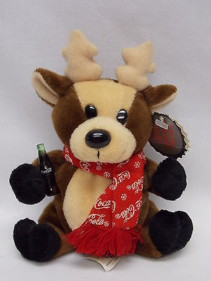 "Coca Cola Bean Bag Plush Christmas Reindeer #0142 5"" tall"