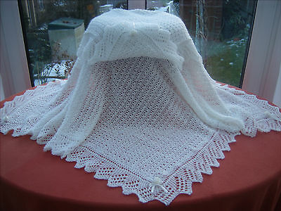 """Exquisite Hand Knitted Cobweb Lace Baby Shawl 100% Pure Wool 2 ply 40"""" x 40"""""""