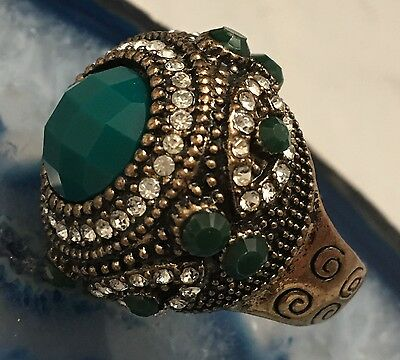 LARGE Vintage Napoleonic Style Jewelled Gold Tone Cluster Ring Size 7.5  -L445