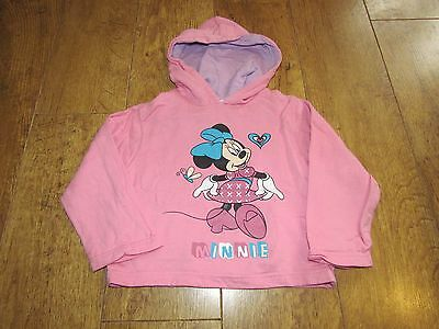 Disney Minnie Mouse Print Girls Baby Pink Hoodie Jumper Lilac Lining 3 Years VGC