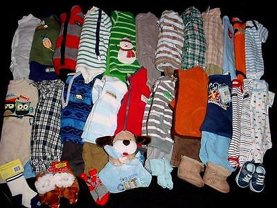 50 pcs USED BABY BOY NEWBORN 0-3 3-6 MONTHS FALL WINTER CLOTHES LOT