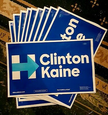 Lot of 10 Hillary Clinton Tim Kain USA yard signs official polybag 2 sides