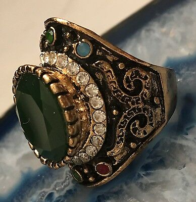 LARGE Vintage Napoleonic Style Jewelled Gold Tone Cluster Ring Size 6.5 WOW-L448