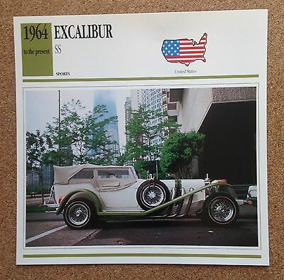 CLASSIC Cars Fact & photo reprint picture card EXCALIBUR SS USA Sports car