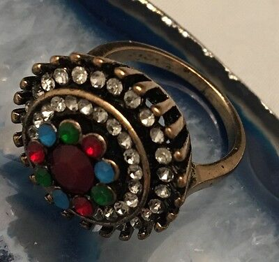 Vintage Napoleonic Style Jewelled Gold Tone Cluster Ring Size 6/6.25 WOW! -L451