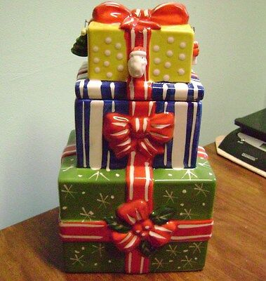 Stacked Christmas Presents Ceramic Cookie Jar- With Box