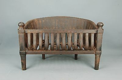 Antique Machine Age cast Iron FIREPLACE COAL BASKET WOOD LOG GRATE early 20th c