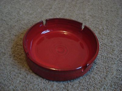 Bright Red Owens Pottery Bowl / Ashtray  Seagrove NC
