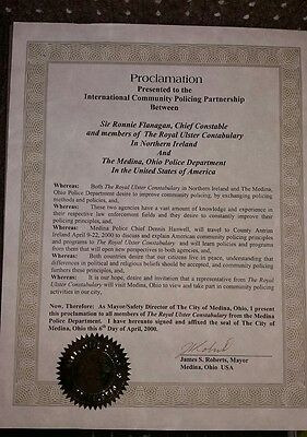 Royal Ulster Constabulary  Police  RUC Proclamation Ohio Police Department