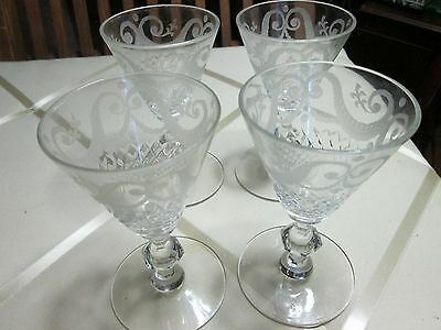 SET 4 ANTIQUE CUT CRYSTAL Etched Swags GLASS STEM Port / Sherry Glasses