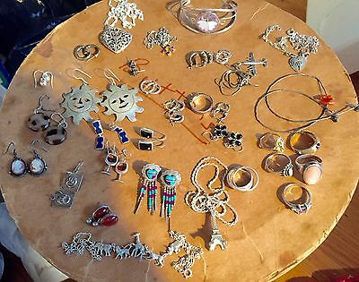 165+ GRAMS STERLING SILVER VINTAGE ESTATE  LOT OF WEARABLE JEWELRY 34 pieces