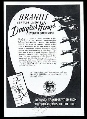 1937 Braniff Airways plane and system route map vintage trade print ad