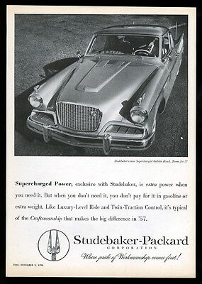 1957 Studebaker Golden Hawk coupe car photo vintage print ad