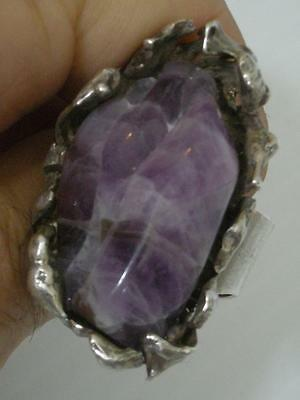 LARGE SHOWY AMETHYST NUGGET STERLING SILVER STUDIO RING - 31.4g - MUSEUM QUALITY