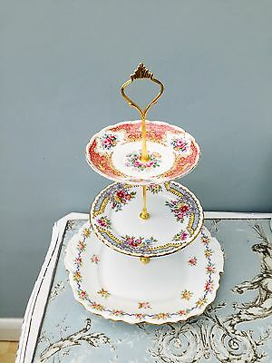 Cake Stand 3 Tier China Vintage Shabby Chic Floral Wedding Tea Party
