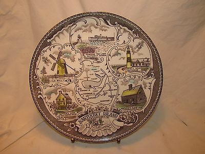 """9"""" Colored Transfer-ware Display Plate - Nantucket Island - EXCELLENT Cond"""