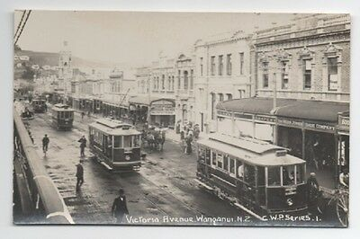 RPPC Victoria Ave w/ Trolley Wanganui New Zealand.(Pub by Frank Duncan)
