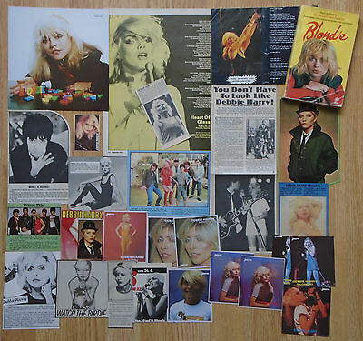 DEBBIE HARRY / BLONDIE - CLIPPINGS / POP STICKER CARDS & P/B BOOK 1970s / 1980s