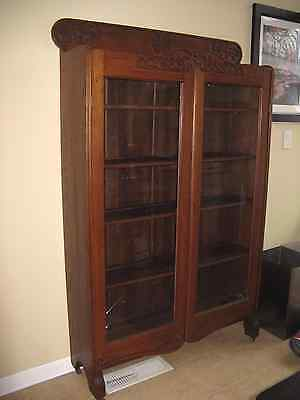 Antique Tiger Oak Bookcase China Display Cabinet Rockford Chair and Furniture Co