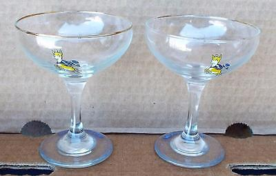 Set of Two Vintage Babycham Glasses With Round Stem. Pub / Bar/ Drink / Alcohol.