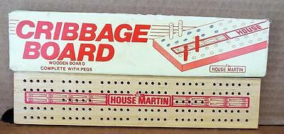 Wooden House Martin Crib / Peg Board With Compartment in Bottom - In Box. Games.