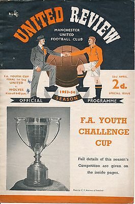 FA YOUTH CUP FINAL 1954 Manchester United v Wolves