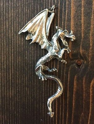 "Pewter Dragon Pendant BIG LARGE 3 "" Long"