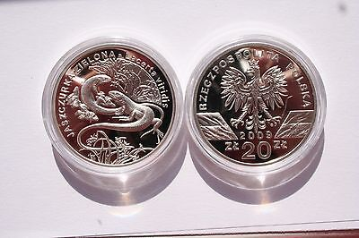 Poland 20 PLN 2009 GREEN LIZARD from Animals of the world serie silver Proof Ag