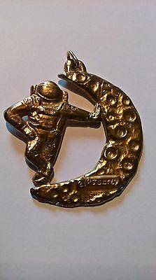 21st July 1969 Man on the Moon Gold Tone Pendant Spaceman Space Travel