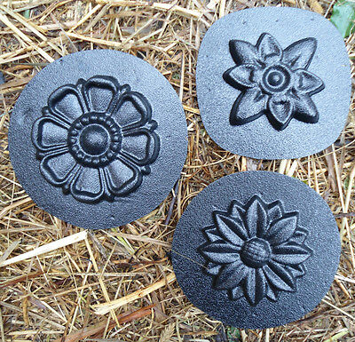 3 embellishment molds plaster fimo clay wax casting molds plastic flower moulds