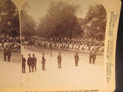Scots Greys Coming Down Constitution Hill June 22 1897 London England Stereoview