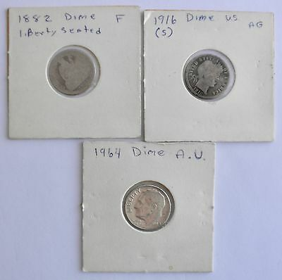 Three Silver US DIMES: Seated Liberty, Barber & Roosevelt