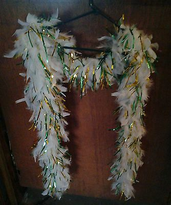 Feather Boa White With Green And Gold Ribbon