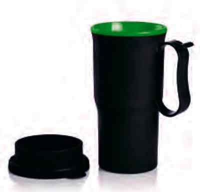 Tupperware Classic Insulated Commuter Mug 13 oz Black /Green New BPA Free