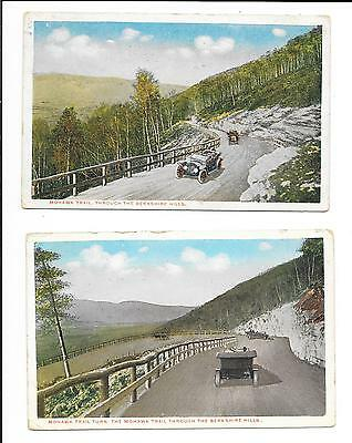 2 x Old postcards: U.S.A.: 'Mohawk Trail, Through The Berkshire Hills'. Posted.