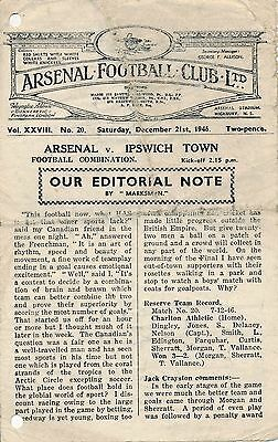 Arsenal Reserves v Ipswich Town (Combination) 1946/7