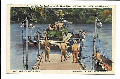 Old postcard, U.S.A. Soldiers: 'Ferrying Four Ton Truck across Big Piney River'.